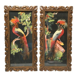 Vintage Mexican Framed Bird Feather Art - a Pair For Sale