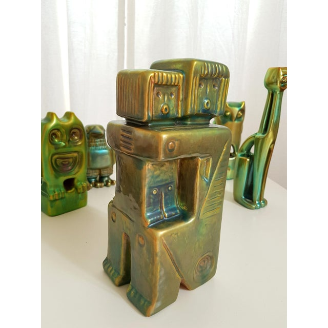 Set of Six Ceramic Eosin Figures by Zsolnay, With 1960s Stamps For Sale - Image 11 of 12