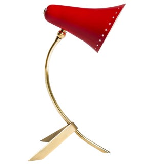 1950s Italy Petite Table Lamp With Red Enamel Shade For Sale