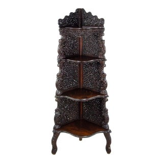 19th Century Anglo-Indian Carved Mahogany Corner Shelf Etagere For Sale