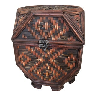 Boho Chic Octagon Handwoven Tabletop Rattan & Wood Storage Box For Sale