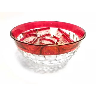 Mid Century Red Cut Glass Punch Bowl & Glasses - Set of 13 Preview