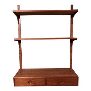 Thygensen + Sorensen/Denmark Teak Wall Mounted Writing Desk + Shelving Unit For Sale