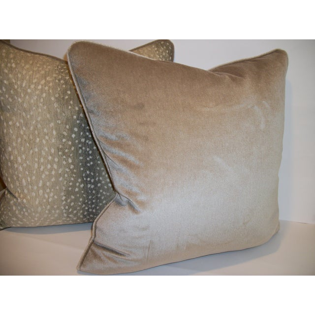 Woven Antelope Pillows with Mohair - A Pair - Image 3 of 5