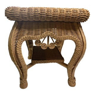Late 20th Century Rectangular Wicker Side Table For Sale