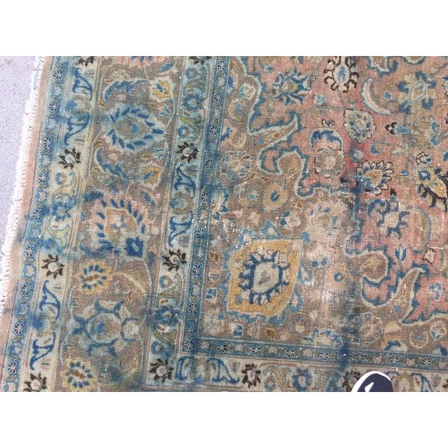 Blue Persian Tribal Overize Handwoven Beige Floor Rug - 9′6″ × 12′5″ For Sale - Image 8 of 11