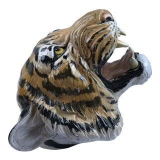Life Size Wall Mount Majolica Tiger Head