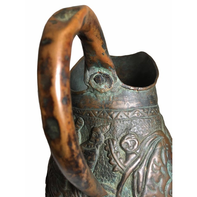 19th Century Persian Qajar Dynasty Copper Pitcher/Jug For Sale - Image 10 of 13