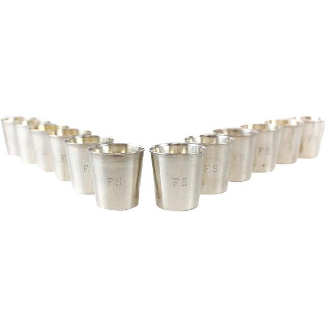 """12 JB & SM Knowles sterling silver shot jigger cups #G58 Retailed by Udall & Ballou, c.1920 . An engraved monogram """"F.S""""..."""