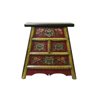 Chinese Red MIX Color Flower Single Sitting Stool W Drawers For Sale