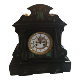 Antique Black Marble & Malachite Mantel Clock For Sale