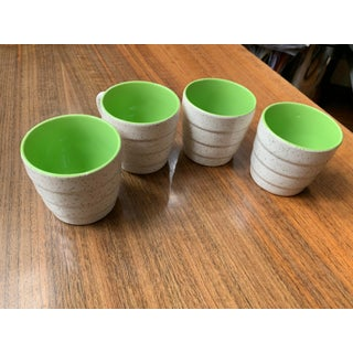1908 Pluazid / Zuid-Holland, New Porcelain, by w.p. Hartgring, Eggshell Brown Speckled & Lime Interior Espresso Cups, Set of 4 Preview
