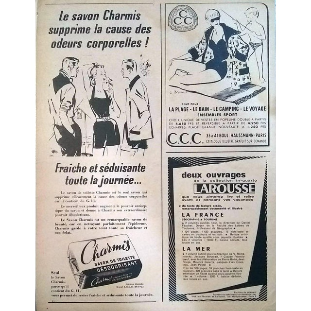 French Pierre-Laurent Brenot 1958 Boussac Fabrics Advertisement For Sale - Image 3 of 4