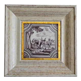 19th-Century Dutch Delft Framed Tile For Sale