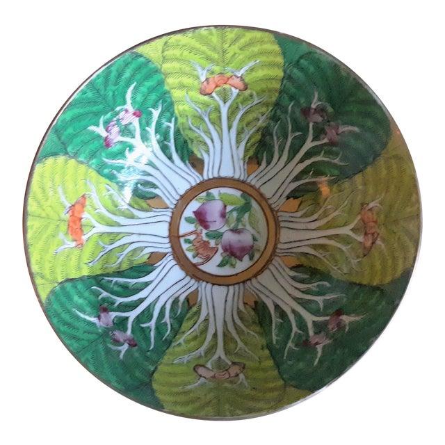 Vintage Porcelain Butterfly and Bok Choy Leaf Bowl For Sale