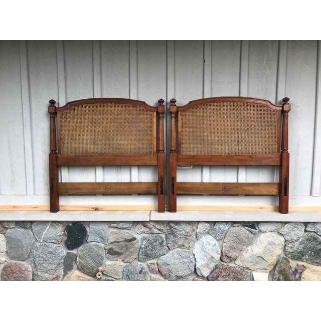 Walnut and Cane Twin Headboards by Kindel Furniture - a Pair For Sale - Image 10 of 10