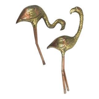 Sergio Bustamante attributed Brass and Copper Flamingo Sculptures - A Pair