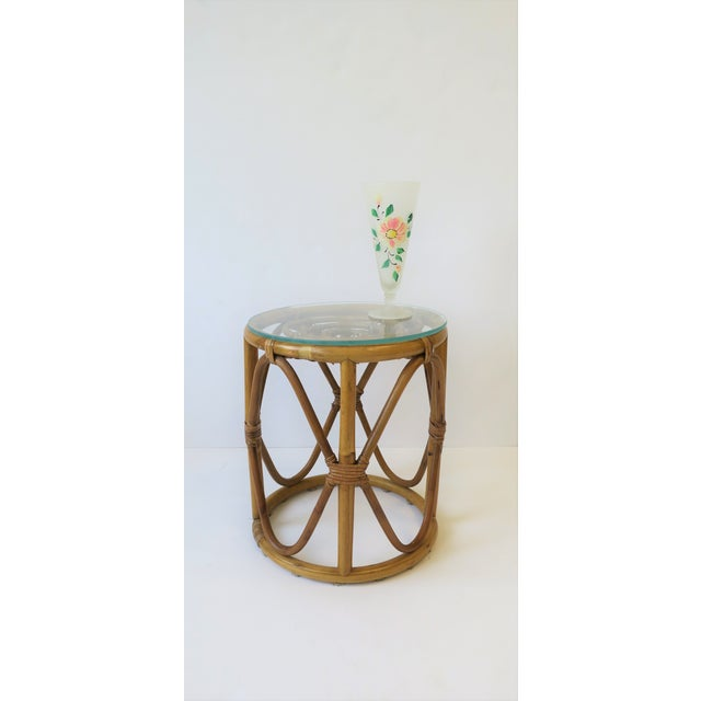 Hollywood Regency 20th Century Hollywood Regency Round Wicker Rattan Bentwood Side Table For Sale - Image 3 of 10