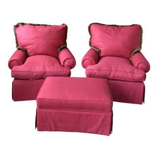 Linen Red Arm Chairs and Ottoman - Set of 3 For Sale