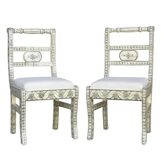 Anglo-Indian Bone Inlaid Accent Chairs - A Pair For Sale