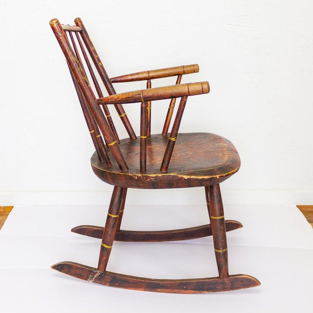 Children's Grain Painted Spindle Back Rocking Chair | 19th Century Red Primitive Antique For Sale - Image 3 of 12