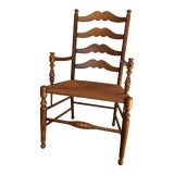 Image of 1980s Ethan Allen Ladder Back Rush Seat Captains Dining Chair For Sale