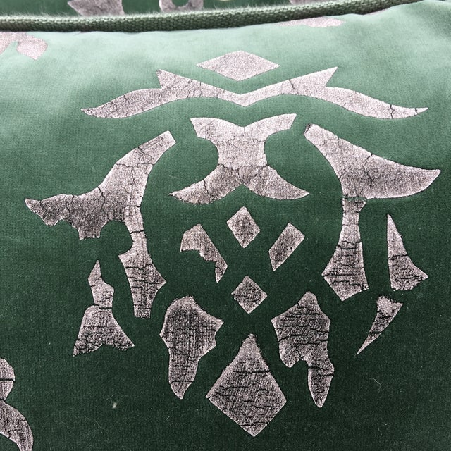 Silver Stencil Green Velvet Pillows - A Pair - Image 4 of 6