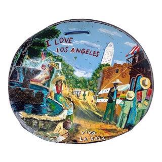 Vintage 'I Love Los Angeles' Primitive Art on 55 Gallon Drum Lid For Sale