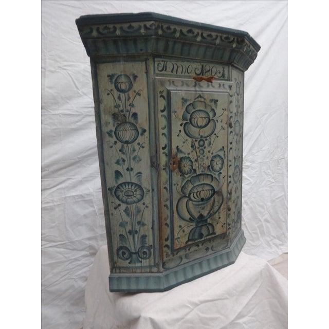 Swedish Original Painted Hanging Corner Cabinet For Sale - Image 4 of 6