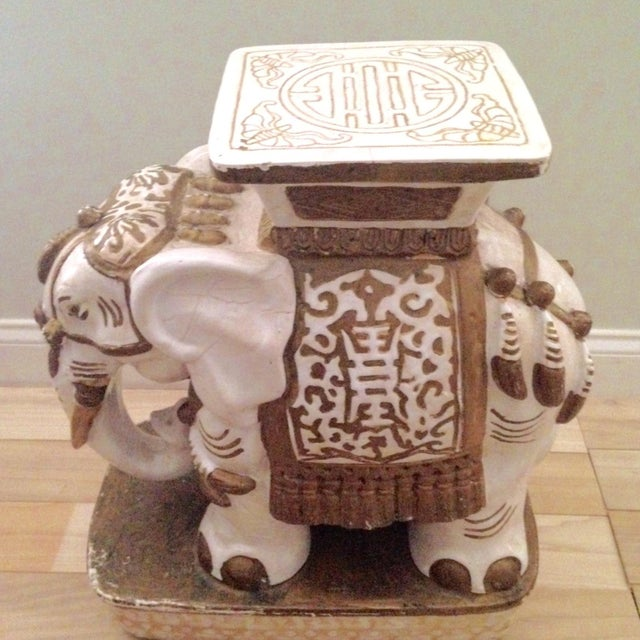 Vintage Ceramic Elephant Garden Stool - Image 5 of 7
