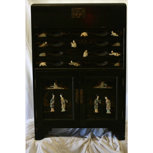 Antique Chinese Black Lacquer Pictorial China Cabinet - Image 2 of 10