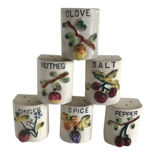 Vintage Ceramic Spice Shakers - Set of 6 For Sale