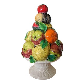 Vintage Italian Capodimonte Glazed Ceramic Fruit Topiary For Sale