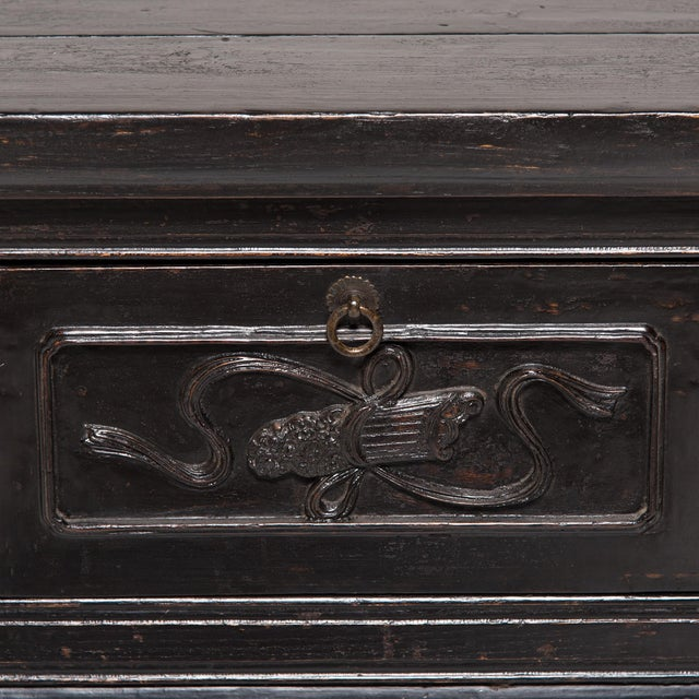Wood 19th Century Chinese Finely Carved Five Drawer Altar For Sale - Image 7 of 8