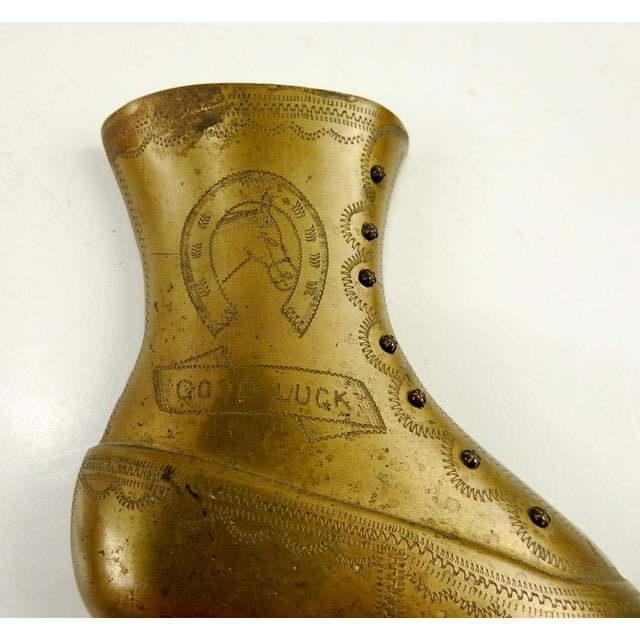 19th Century Victorian Good Luck Brass Boot Bookends - a Pair For Sale In San Antonio - Image 6 of 7