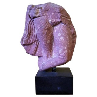 2nd Century Red Sandstone Fragment of a Woman For Sale