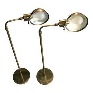 1970s Vintage Adjustable Brass Floor / Reading Lamps by Chapman - a Pair For Sale