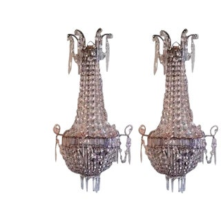 Pair of Italian Crystal Louis XVI Style Appliques For Sale