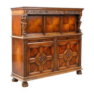 1930s Gothic Revival Storage or Bar Cabinet For Sale