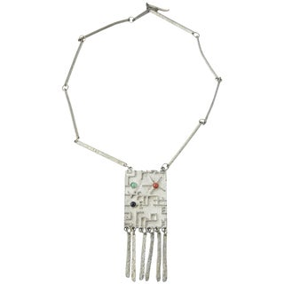 Brutalist Modernist Sterling Space Age Tassel Necklace For Sale