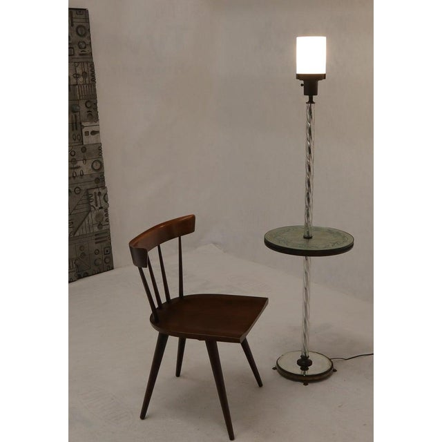 Twisted Glass Pole Reversed Painting Table Art Deco Floor Lamp For Sale - Image 4 of 11
