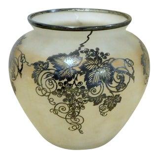 1920s Vintage Art Nouveau Silver Overlay Vase For Sale