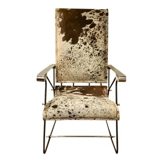 Industrial Style Cowhide Arm Chair For Sale