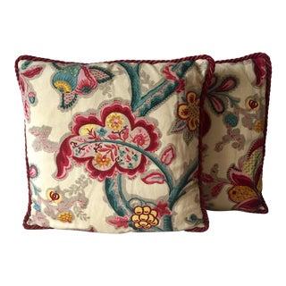2 Vintage Osborne & Little Hand-Printed Linen Pillows-Nina Campbell For Sale
