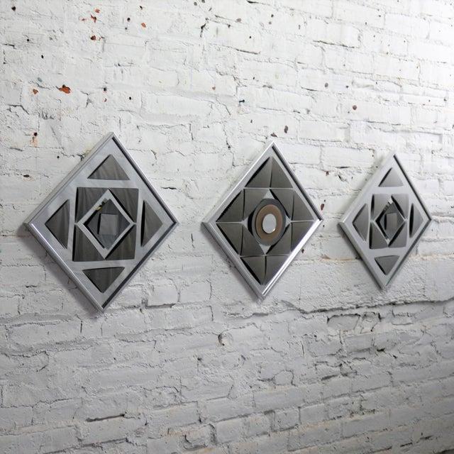 Pop Art Op Art Geometric Trio of Framed Mirror Wall Sculptures by Hal Bienenfeld For Sale - Image 9 of 13