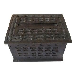 VintageDark Brown Carved Puzzle Box For Sale