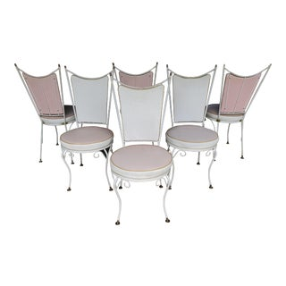 1950's Vintage Hollywood Regency Mid-Century Wrought Iron Atomic Ice Cream Parlor Chairs - Set of 6 For Sale