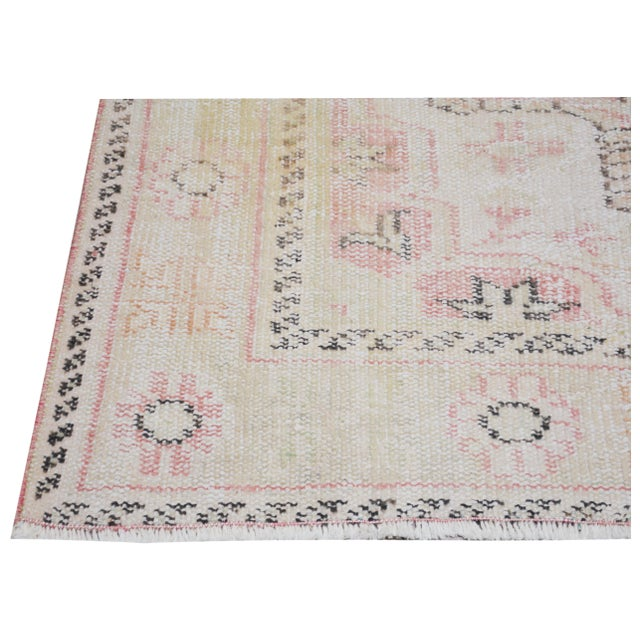 """1930s Vintage Turkish Anatolian Oushak Hand Knotted Organic Wool Fine Weave Rug,6'7""""x9' For Sale - Image 5 of 6"""