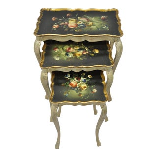 Vintage Italian Florentine Nesting Side Tables - Set of 3 For Sale