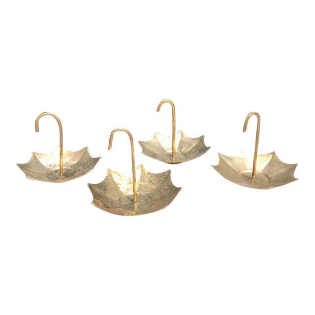 La Vie Brass Umbrella Mini Ashtrays - Set of 4 For Sale